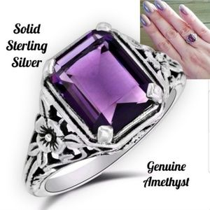 💋2 CT Amethyst Sterling Silver Ring 8